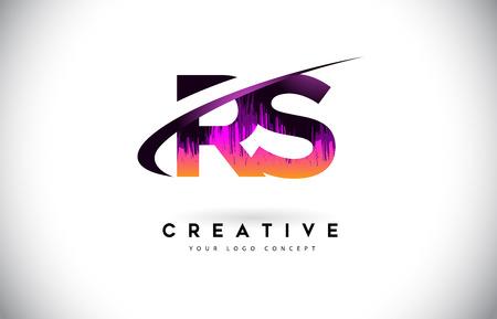 RS R S Grunge Letter Logo with Purple Vibrant Colors Design. Creative grunge vintage Letters Vector Logo Illustration.