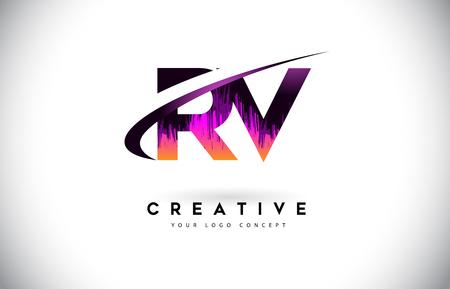 RV R V Grunge Letter Logo with Purple Vibrant Colors Design. Creative grunge vintage Letters Vector Logo Illustration. Illustration