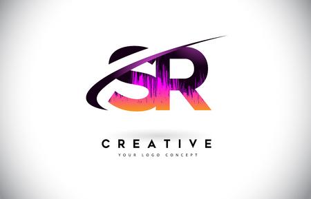 SR S R Grunge Letter Logo with Purple Vibrant Colors Design. Creative grunge vintage Letters Vector Logo Illustration.