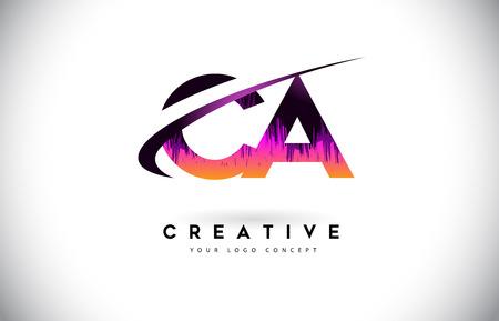 CA C A Grunge Letter Logo with Purple Vibrant Colors Design. Creative grunge vintage Letters Vector Logo Illustration.