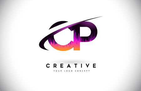 CP C P Grunge Letter Logo with Purple Vibrant Colors Design. Creative grunge vintage Letters Vector Logo Illustration.
