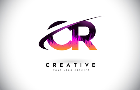 CR C R Grunge Letter Logo with Purple Vibrant Colors Design. Creative grunge vintage Letters Vector Logo Illustration. Logó