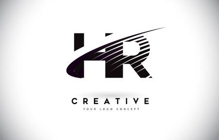 Création de Logo de lettre HR HR avec Swoosh et lignes noires. Lignes de zèbre créatives modernes lettres logo vectoriel
