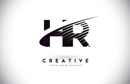 HR H R Letter Logo Design with Swoosh and Black Lines. Modern Creative zebra lines Letters Vector Logo