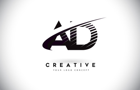 AD A D Letter Logo Design with Swoosh and Black Lines. Modern Creative zebra lines Letters Vector Logo