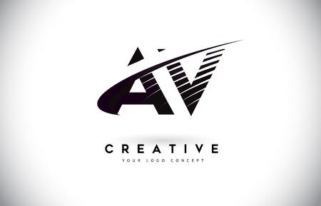 AV A V Letter Logo Design with Swoosh and Black Lines. Modern Creative zebra lines Letters Vector Logo Stock Vector - 101641518