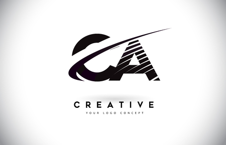 CA C A Letter Logo Design with Swoosh and Black Lines. Modern Creative zebra lines Letters Vector Logo