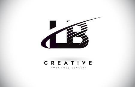 LB L B Letter Logo Design with Swoosh and Black Lines. Modern Creative zebra lines Letters Vector Logo