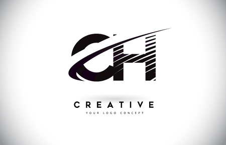 CH C H Letter Logo Design with Swoosh and Black Lines. Modern Creative zebra lines Letters Vector Logo