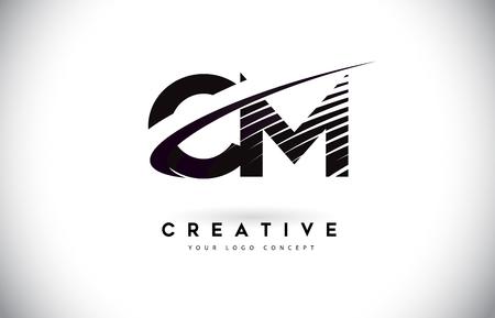 CM C M Letter Logo Design with Swoosh and Black Lines. Modern Creative zebra lines Letters Vector Logo