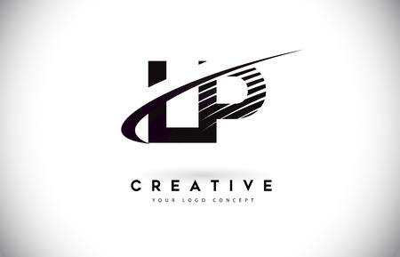 LP L P Letter Logo Design with Swoosh and Black Lines. Modern Creative zebra lines Letters Vector Logo Illustration