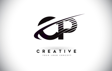 CP C P Letter Logo Design with Swoosh and Black Lines. Modern Creative zebra lines Letters Vector Logo