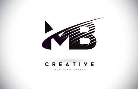 MB M B Letter Logo Design with Swoosh and Black Lines. Modern Creative zebra lines Letters Vector Logo