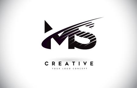 MS M S Letter Logo Design with Swoosh and Black Lines. Modern Creative zebra lines Letters Vector Logo