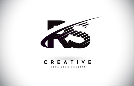RS R S Letter Logo Design with Swoosh and Black Lines. Modern Creative zebra lines Letters Vector Logo