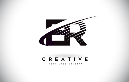 ER E R Letter Logo Design with Swoosh and Black Lines. Modern Creative zebra lines Letters Vector Logo