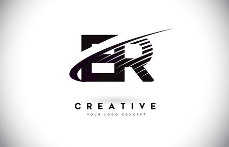 ER E R Letter Logo Design with Swoosh and Black Lines. Modern Creative zebra lines Letters Vector Logo