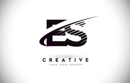 ES ES brief Logo ontwerp met Swoosh en zwarte lijnen. Moderne creatieve zebra lijnen Letters Vector Logo