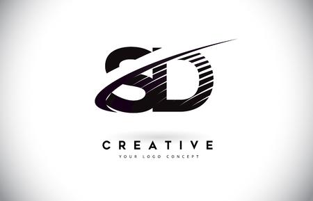 SD SD brief Logo ontwerp met Swoosh en zwarte lijnen. Moderne creatieve zebra lijnen Letters Vector Logo