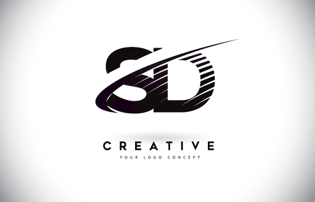 SD S D Letter Logo Design with Swoosh and Black Lines. Modern Creative zebra lines Letters Vector Logo