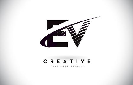EV E V Letter Logo Design with Swoosh and Black Lines. Modern Creative zebra lines Letters Vector Logo