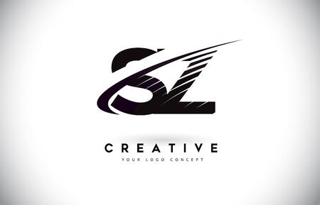 SZ S Z Letter Logo Design with Swoosh and Black Lines. Modern Creative zebra lines Letters Vector Logo