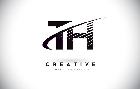 TH T H Letter Logo Design with Swoosh and Black Lines. Modern Creative zebra lines Letters Vector Logo