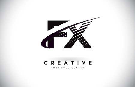 FX F X Letter Logo Design with Swoosh and Black Lines. Modern Creative zebra lines Letters Vector Logo 矢量图像
