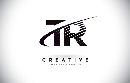TR T R Letter Logo Design with Swoosh and Black Lines. Modern Creative zebra lines Letters Vector Logo