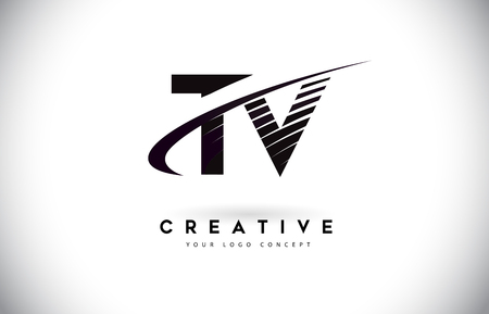 TV T V Letter Logo Design with Swoosh and Black Lines. Modern Creative zebra lines Letters Vector Logo
