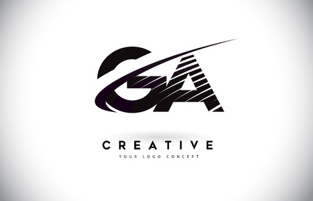 GA G A Letter Logo Design with Swoosh and Black Lines. Modern Creative zebra lines Letters Vector Logo