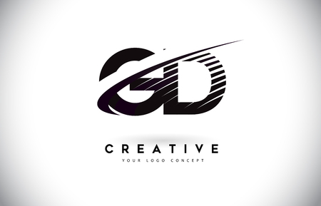 GD G D Letter Logo Design with Swoosh and Black Lines. Modern Creative zebra lines Letters Vector Logo