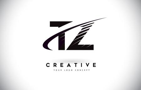 TZ T Z Letter Logo Design with Swoosh and Black Lines. Modern Creative zebra lines Letters Vector Logo