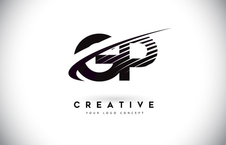 GP G P Letter Logo Design with Swoosh and Black Lines. Modern Creative zebra lines Letters Vector Logo