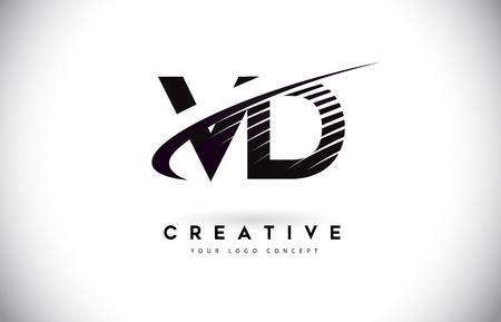 VD V D Letter Logo Design with Swoosh and Black Lines. Modern Creative zebra lines Letters Vector Logo Logó