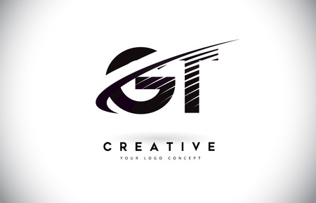 GT G T Letter Logo Design with Swoosh and Black Lines. Modern Creative zebra lines Letters Vector Logo 일러스트