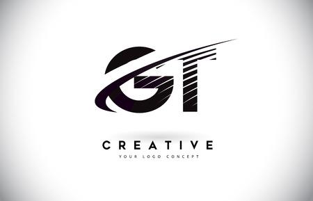 GT G T Letter Logo Design with Swoosh and Black Lines. Modern Creative zebra lines Letters Vector Logo Illustration