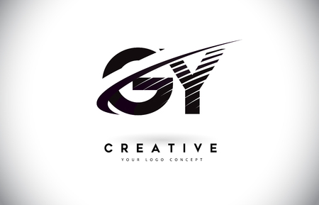 GY G Y Letter Logo Design with Swoosh and Black Lines. Modern Creative zebra lines Letters Vector Logo