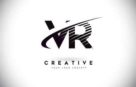 VR V R Letter Logo Design with Swoosh and Black Lines. Modern Creative zebra lines Letters Vector Logo
