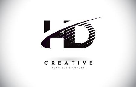 HD H D Letter Logo Design with Swoosh and Black Lines. Modern Creative zebra lines Letters Vector Logo