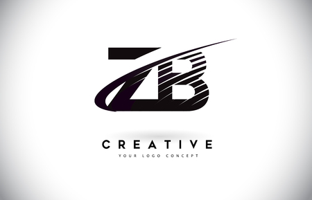 ZB Z B Letter Logo Design with Swoosh and Black Lines. Modern Creative zebra lines Letters Vector Logo