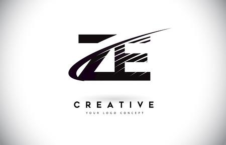ZE ZE Letter Logo Design mit Swoosh und schwarzen Linien. Moderne kreative Zebralinien Buchstaben Vektor-Logo Logo