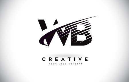 WB W B Letter Logo Design with Swoosh and Black Lines. Modern Creative zebra lines Letters Vector Logo