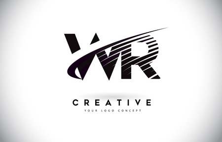 WR W R Letter Logo Design with Swoosh and Black Lines. Modern Creative zebra lines Letters Vector Logo