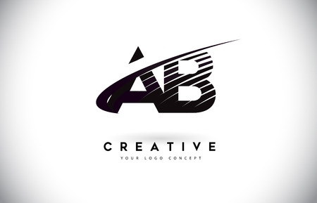 AB A B Letter Logo Design with Swoosh and Black Lines. Modern Creative zebra lines Letters Vector Logo