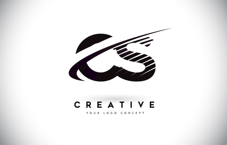 CS C S Letter Logo Design with Swoosh and Black Lines. Modern Creative zebra lines Letters Vector Logo