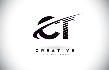 CT C T Letter Logo Design with Swoosh and Black Lines. Modern Creative zebra lines Letters Vector Logo