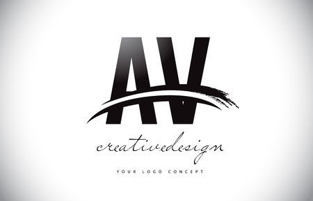AV A V Letter Logo Design with Swoosh and Black Brush Stroke. Modern Creative Brush Stroke Letters Vector Logo