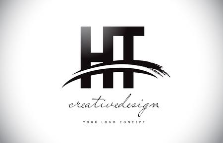 HT H T Letter Logo Design with Swoosh and Black Brush Stroke. Modern Creative Brush Stroke Letters Vector Logo