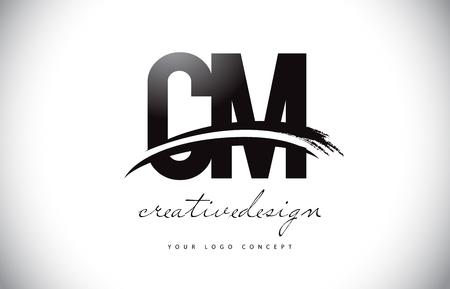CM C M Letter Logo Design with Swoosh and Black Brush Stroke. Modern Creative Brush Stroke Letters Vector Logo